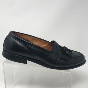 Allen Edmonds Black Leather Kilt Tassel Loafers